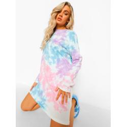 Tie Dye Back Print Long Sleeve T-shirt Dress