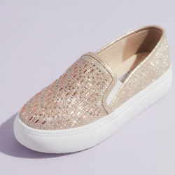 Jewel Shimmery Slip-On Sneakers with Crystals