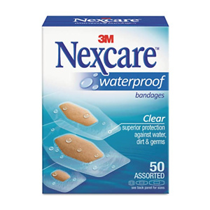 Nexcare Waterproof Clear Bandages Assorted Sizes 50 Bandages
