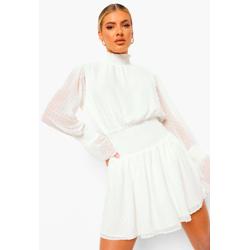 Dobby High Neck Shirred Mini Dress