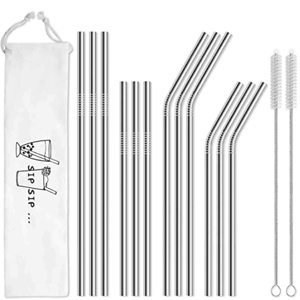 Hiware 12-Pack Reusable Stainless Steel Metal Straws with Case