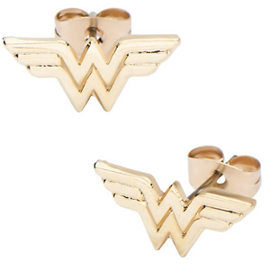 DC Comics Women's Wonder Woman Gold Plated Stud Earrings