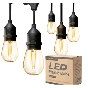 addlon LED Outdoor String Lights 48FT with 2W Dimmable Edison Vintage Plastic Bulbs