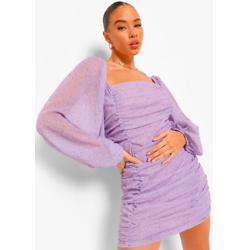 Long Sleeve Ruched Front Chiffon Mini Dress
