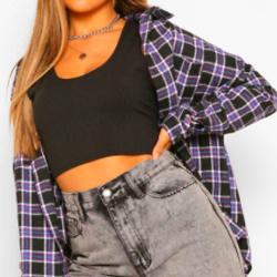 Petite Flannel Oversized Shirt