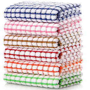 LAZI Kitchen Dish Towels, 16 Inch x 25 Inch Bulk Cotton Kitchen Towels and Dishcloths Set
