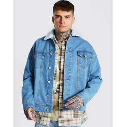 OVERSIZED BORG COLLAR DENIM JACKET