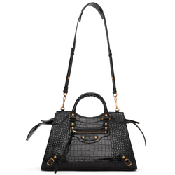 BALENCIAGA Black Croc Large Neo Classic City Bag