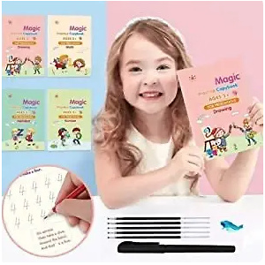 4 Packs Books Reusable Copybook with Magical Pen