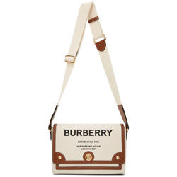 BURBERRY Off-White & Brown Canvas 'Horseferry' Note Bag