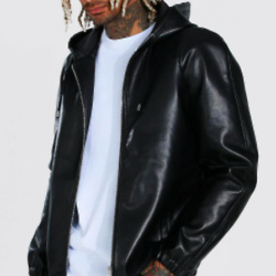Leather Look Hooded Zip Through Jacket