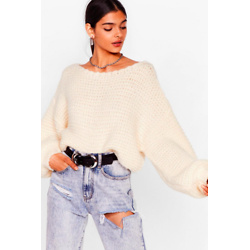 Off The Shoulder Chunky Knit Sweater