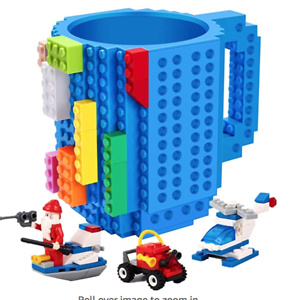 POXIWIN Build-on Brick Mug,with 3 Packs of Blocks at random