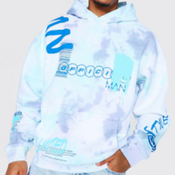 Oversized Official Graffiti Tie Dye Hoodie