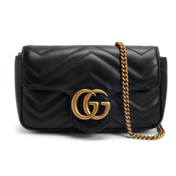 Gucci GG Marmont Matelasse Super Mini Black in Calfskin Leather with Antique Gold