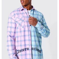 Spliced Check Shirt With Back Print