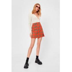 Check Double Slit Pencil Mini Skirt