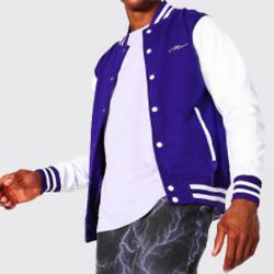 Man Signature Jersey Varsity Bomber Jacket
