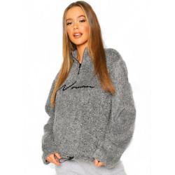 Half Zip Woman Embroidered Fleece Hoodie