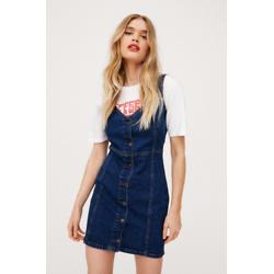 V Neck Button Down Denim Mini Dress