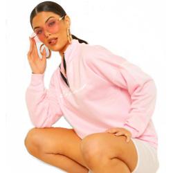 Woman Slogan Rib Neck Zip Sweatshirt