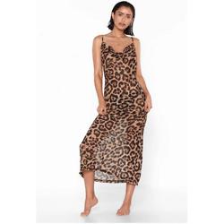 Leopard Cowl Neck Maxi Beach Dress