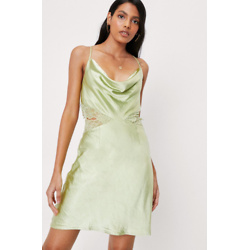 Cowl Neck Lace Insert Satin Mini Dress