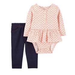 2-Piece Floral Peplum Bodysuit Pant Set