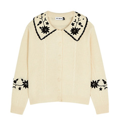 Dora cream embroidered wool cardigan