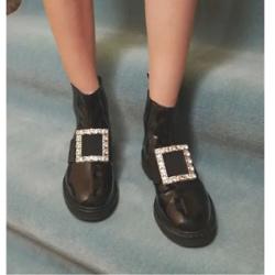 Roger Vivier Viv Rangers Strass Patent Leather Chelsea Boots