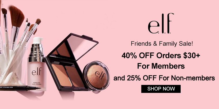 elf Cosmetics: 40% OFF Orders $30+ for Members and 25% for Non-Members