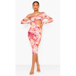 Tie Dye Slinky Asymetric Midi Dress