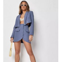 blue co ord tailored button front mini skirt