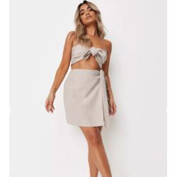 beige co ord tie side mini skirt
