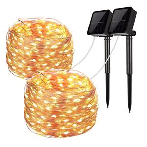 LiyuanQ Solar String Lights, 2 Pack 100 LED Solar Fairy Lights 33 Feet 8 Modes Copper Wire Lights