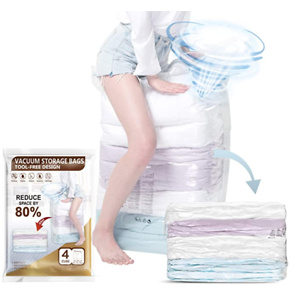 TAILI Cube Vacuum Space Saver Bags Jumbo Size 4 Pack of 31x40x15 inch Extra Large Compressed Closet Organizers
