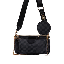 MIKA CHECKED CHAIN AND PURSE DETAIL CROSS BODY BAG IN BLACK FAUX LEATHER