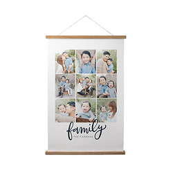 Family Script Collage Hanging Canvas Print
