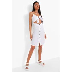 Tall Buckle Cut Out Denim Dress