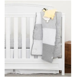 Dottie Bee Grey Reversible Baby Quilt Made with Organic Cotton