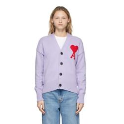 AMI ALEXANDRE MATTIUSSI Purple Ami De Coeur Oversize Cardigan