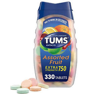 TUMS Extra Strength Antacid Tablets for Chewable Heartburn Relief and Acid Indigestion Relief