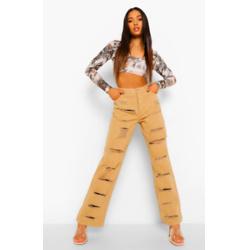 Petite Extreme Distressing Straight Leg Jean