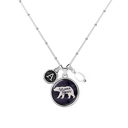 Mama Bear - Initial - Diana Necklace Silver