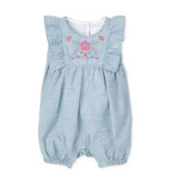 Baby Girls Embroidered Chambray Ruffle Romper