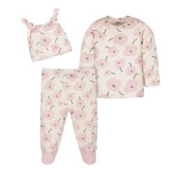 Gerber® 3-Piece Baby Girls Shirt, Footed Pant, and Cap Set - Bunny