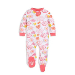 Baby Rosy Spring Floral Watercolor Organic Cotton Zip Front Loose Fit Footed Pajamas