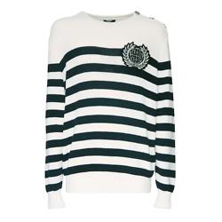Balmain Logo Striped Cotton Blend Knit Sweater