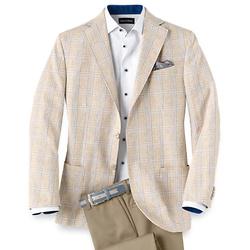 Wool Silk and Linen Plaid Notch Lapel Sport Coat