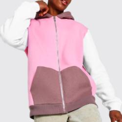 Zip Through Colour Block Hoodie